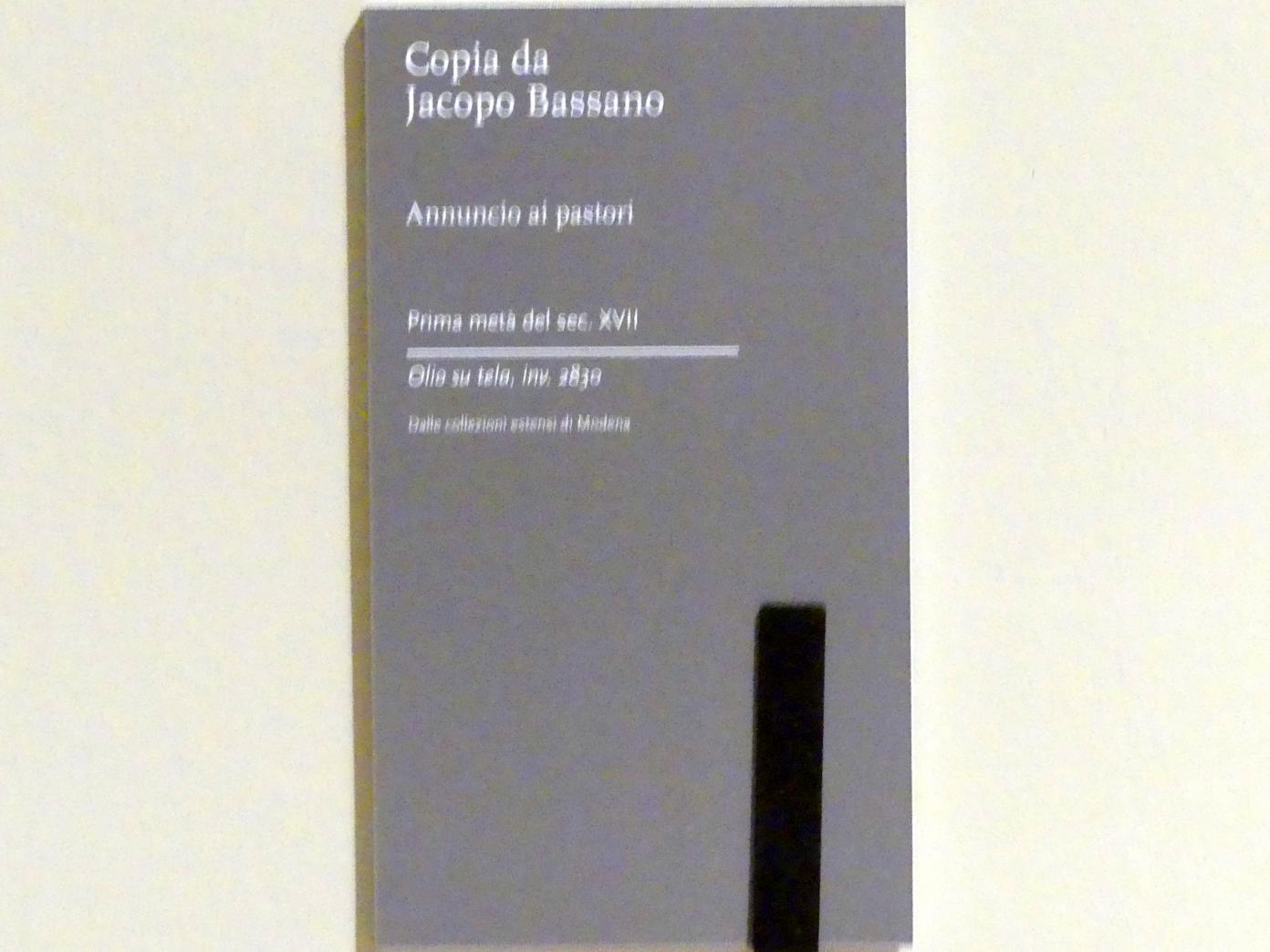Jacopo Bassano (Kopie): Verkündigung an die Hirten, 1. Hälfte 17. Jhd., Bild 2/2
