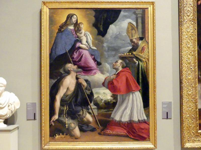 Giovan Battista Pesari: Maria mit Kind und den hll. Pellegrino, Karl Borromäus und Nikolaus von Myra, Um 1635