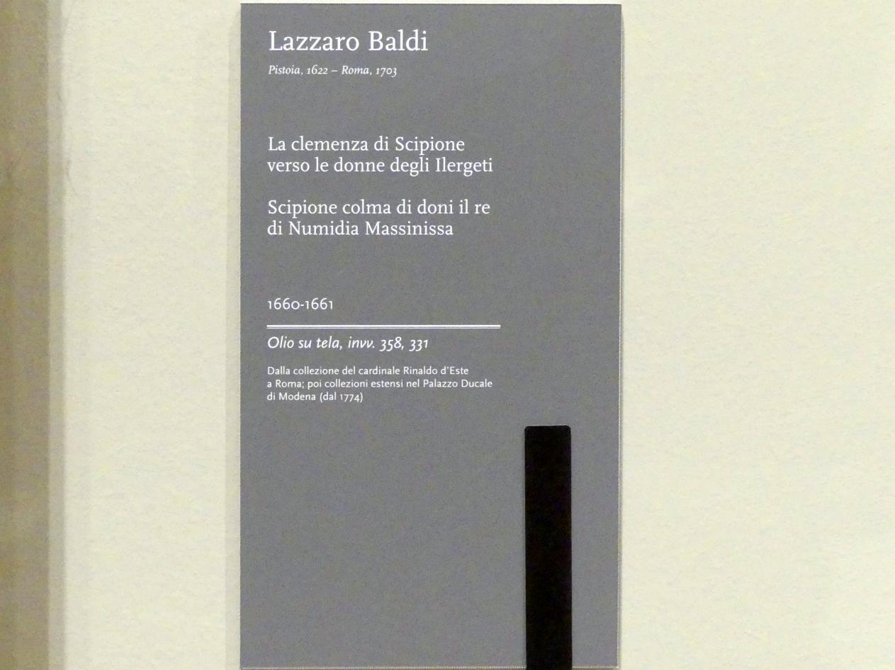 Lazzaro Baldi: Scipio beschenkt den König von Numidien, 1660 - 1661