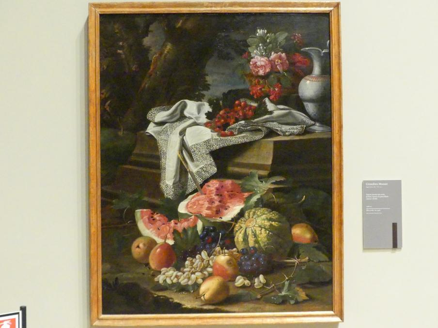 Cristoforo Munari: Stillleben mit Blumenkorb, Krug aus chinesischem Porzellan und Obst, um 1706