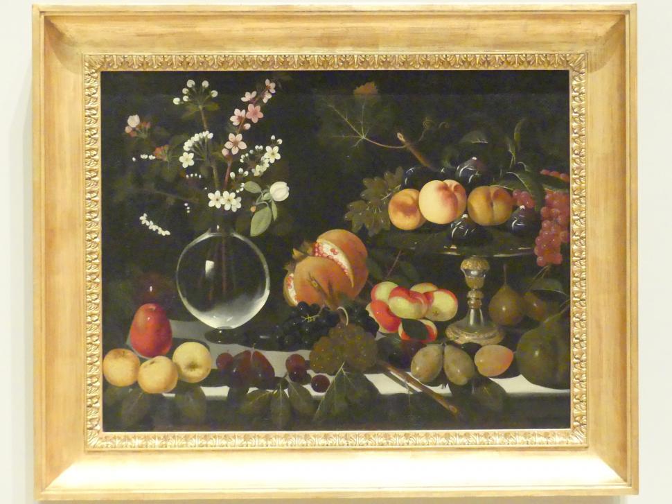 Meister von Hartford: Obstschale mit Feigen, Pfirsichen und Trauben, Blumenvase und Obst, um 1600 - 1602