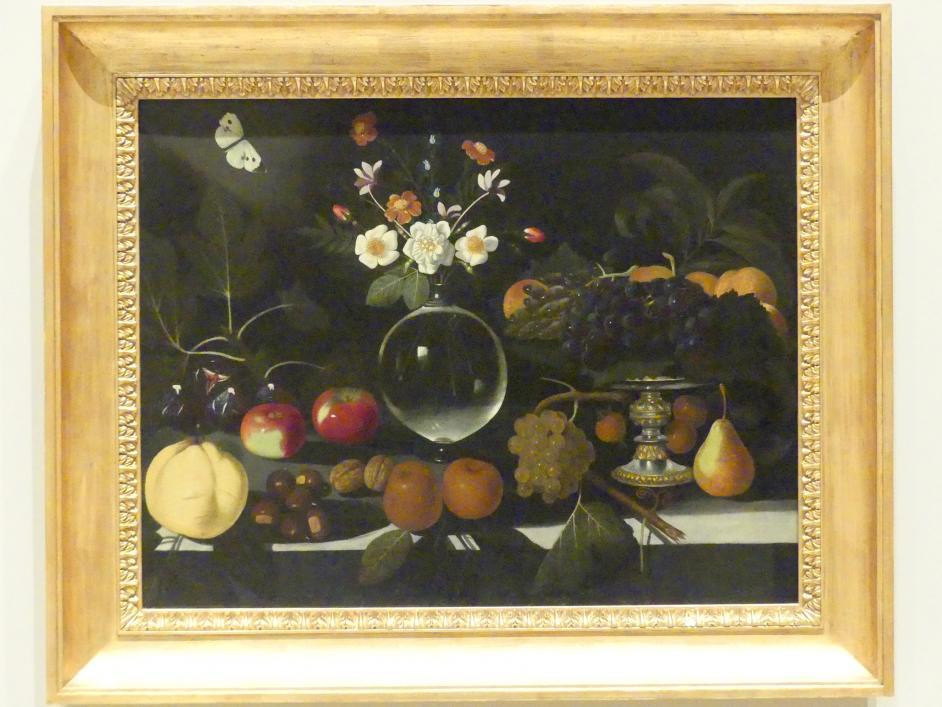 Meister von Hartford: Obstschale mit Trauben und Pfirsichen, Blumenvase, Obst und Schmetterling, um 1600 - 1602