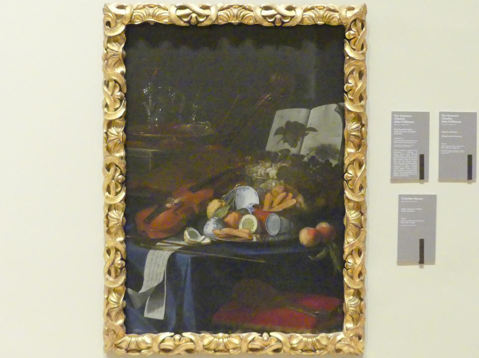 Cristoforo Munari: Stillleben mit Violine, Früchten und Brille, um 1706