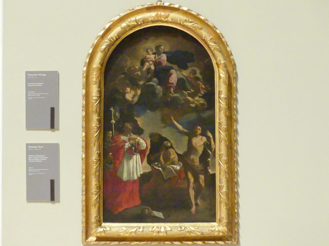 Flaminio Torri: Maria mit dem Kind in der himmlischen Glorie, Karl Borromäus, Johannes der Täufer, Hieronymus und Nikolaus von Tolentino, Um 1645