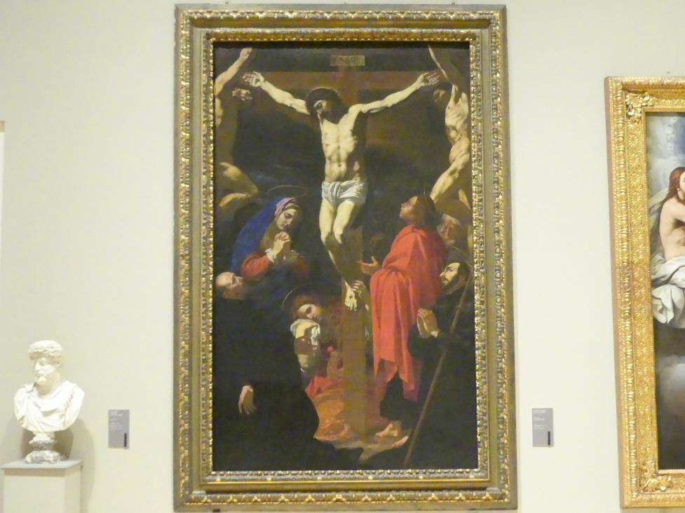 Antonio Circignani (il Pomarancio): Kreuzigung mit den hll. Franz Xaver und Ignatius von Loyola, 1620 - 1621