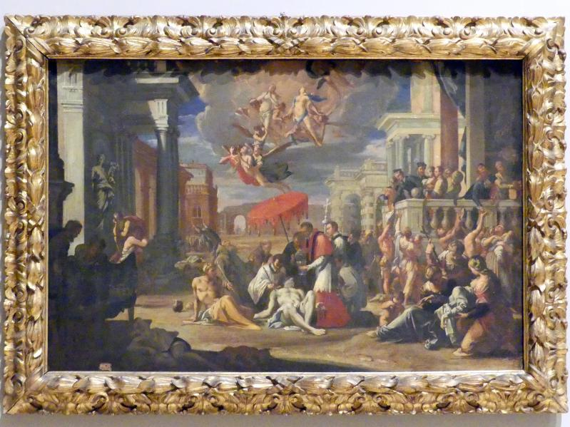 Sigismondo Caula: Der Heilige Karl Borromäus teilt die Eucharistie an die Pestopfer aus, 1670 - 1675