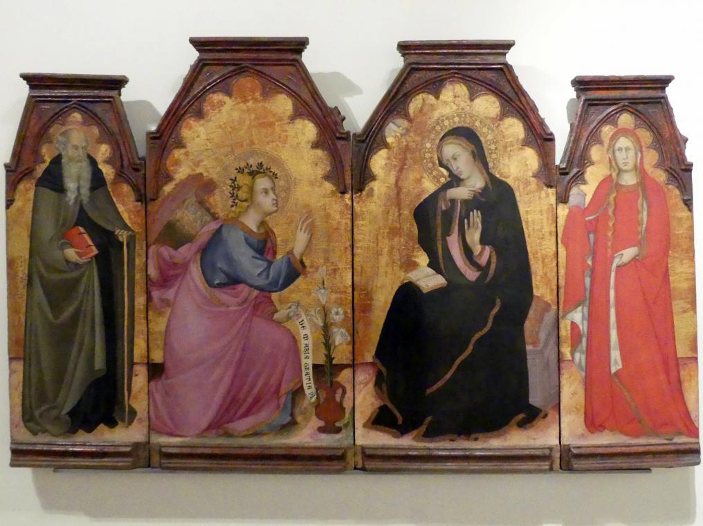 Andrea di Bartolo: Mariä Verkündigung und die hll. Antonius Abbas und Maria Magdalena, 1397