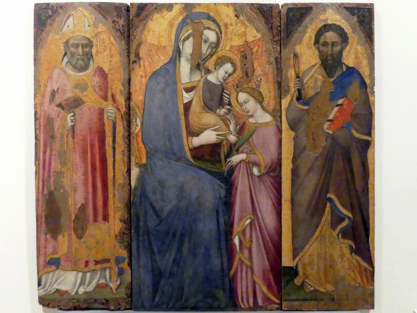 Luca di Tommè: Mystische Vermählung der hl. Katharina zwischen den hll. Bartholomäus und Blasius, 2. Hälfte 14. Jhd.