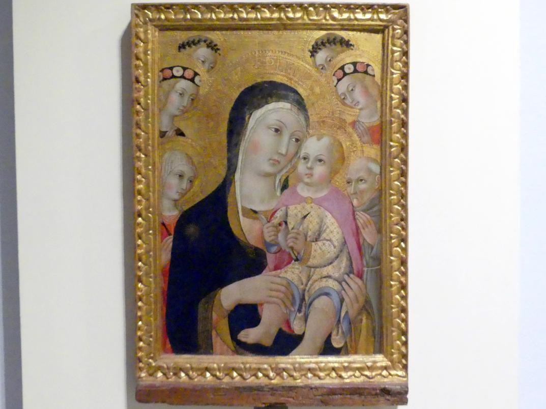 Sano di Pietro: Maria mit Kind und den hll. Apollonia und Bernhardin und vier Engeln, 15. Jhd.