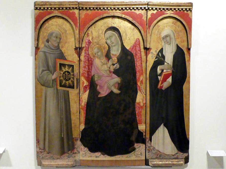Sano di Pietro: Thronende Madonna mit Kind mit den hll. Bernhardin und Katharina von Siena, 15. Jhd.