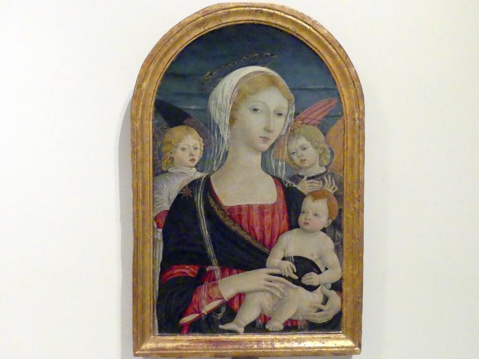 Matteo di Giovanni: Maria mit Kind und zwei Engeln, um 1470