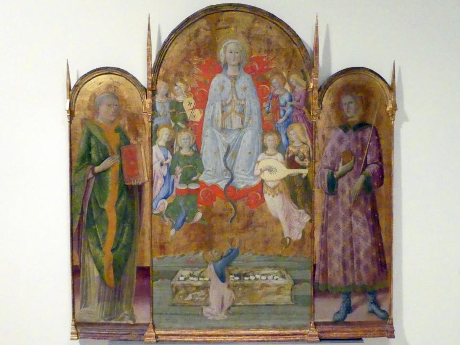 Maestro di Montepertuso: Mariä Himmelfahrt mit dem Apostel Thomas und Engeln zwischen hll. Stephanus und Sigismund, 2. Hälfte 15. Jhd.