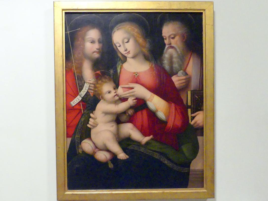 Andrea Piccinelli (Andrea del Brescianino): Maria stillt das Jesuskind und die hll. Johannes der Täufer und Hieroymus, 1. Viertel 16. Jhd.
