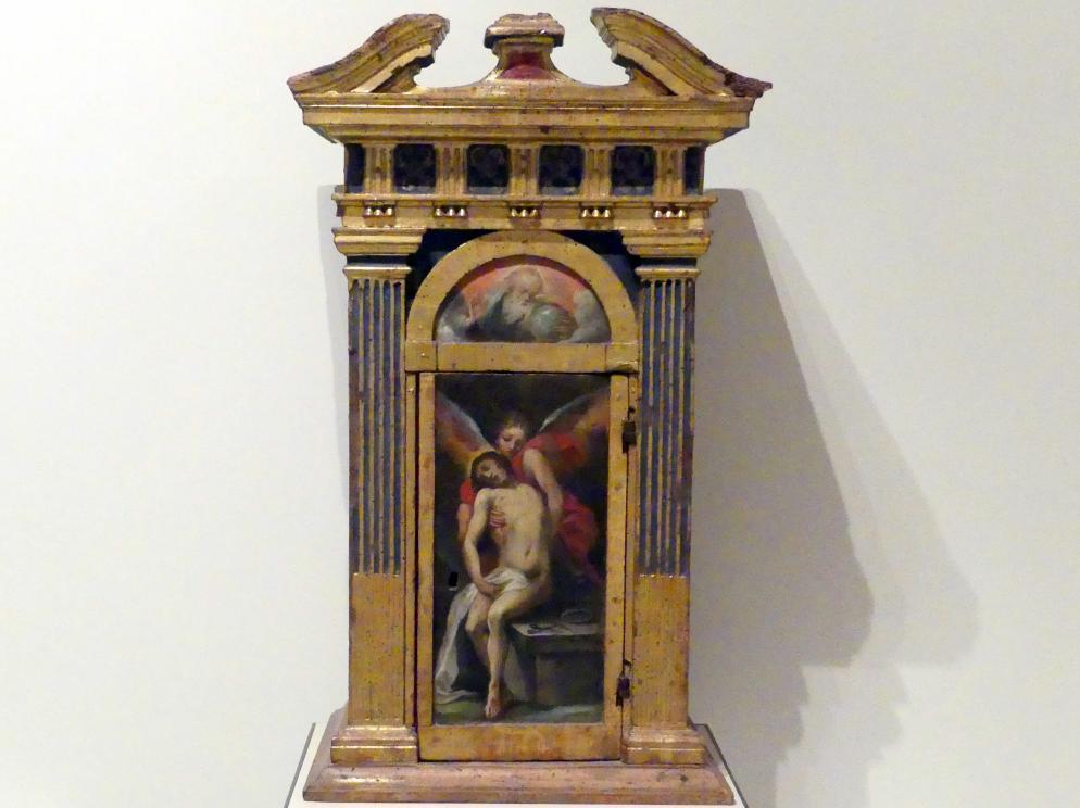 Ventura Salimbeni: Tabernakel, der tote Christus gehalten von einem Engel und der segnende Gottvater, 1601