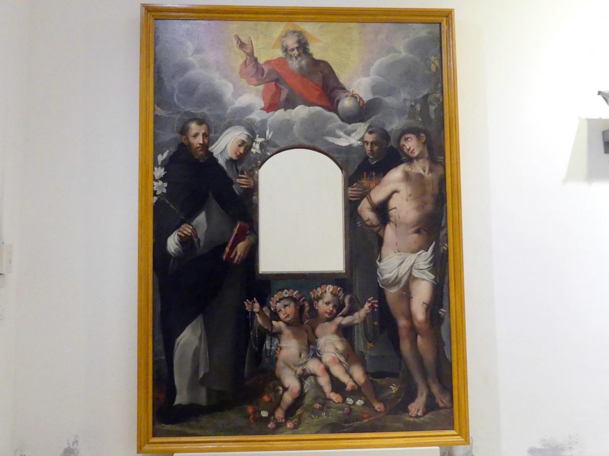 Segnende Gottvater und die hll. Dominikus, Katherina von Siena, Ambrosius Sansedoni von Siena, Sebastian und zwei Engel, Beginn 17. Jhd.