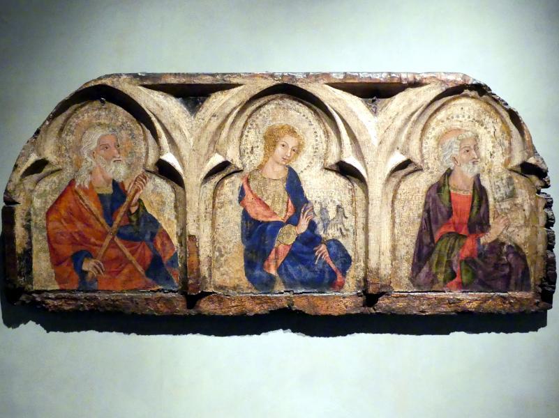 Apostel Andreas, Evangelist Johannes und Apostel Petrus, um 1340