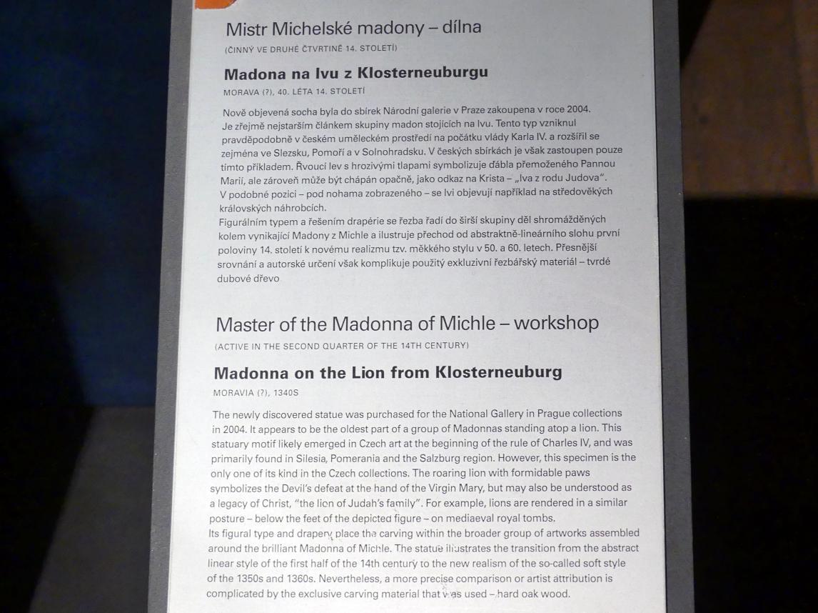 Meister der Madonna von Michle (Werkstatt): Madonna auf dem Löwen, 1340 - 1350, Bild 12/12