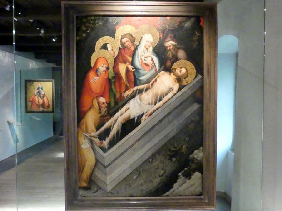 Meister von Wittingau: Grablegung Jesu, Heilige Ägidius, Augustinus und Hieronymus, um 1380 - 1385