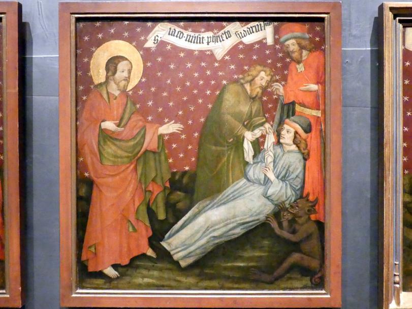 Meister von Raigern (Meister des Raigerner Altars) (Werkstatt): Jakobaltar: Jakobus sendet sein Pallium zu Philetes, um 1430