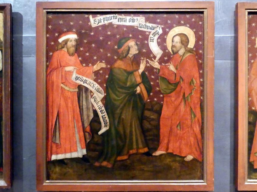 Meister von Raigern (Meister des Raigerner Altars) (Werkstatt): Jakobaltar: Hermogenes sendet Philetes zu Jakobus, um 1430
