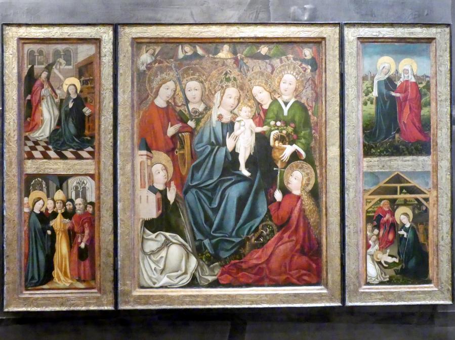 Meister des St.-Georg-Altars (Werkstatt): Maria mit Kind und Heilige Jungfrauen, um 1480
