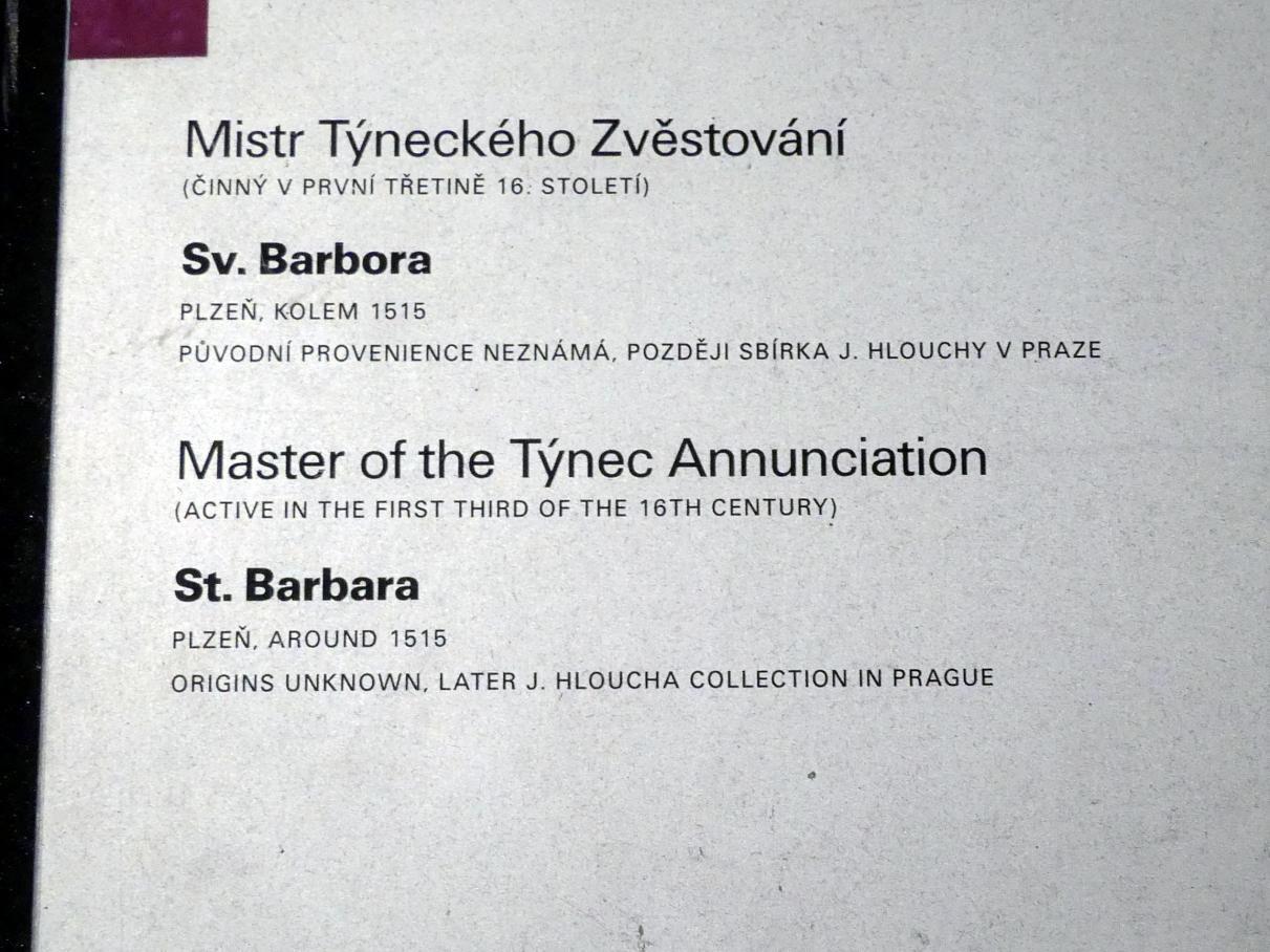 Meister der Teyner Verkündigung: Heilige Barbara, um 1515, Bild 5/5