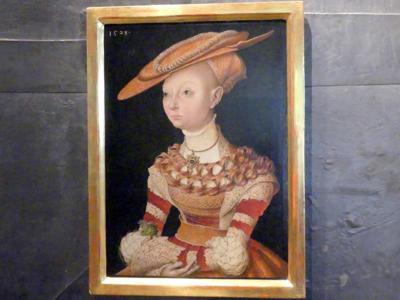 Lucas Cranach der Ältere (Umkreis): Porträt einer Dame mit Farn, 1538