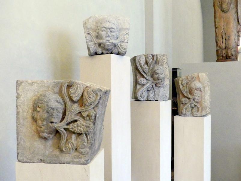 Vier Steine mit Masken und Ranken, Um 1220 - 1230