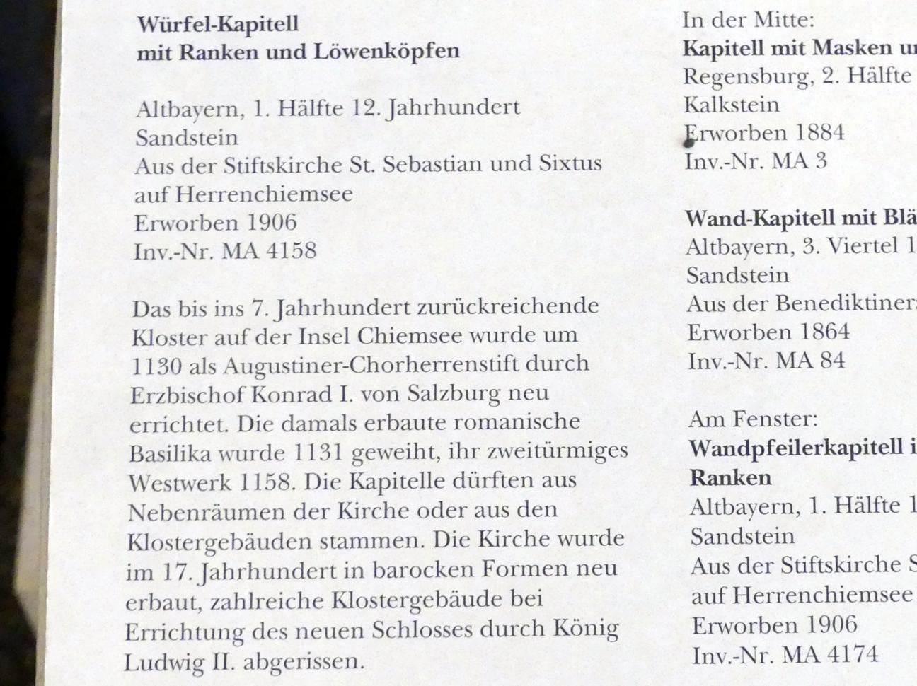 Würfel-Kapitell mit Ranken und Löwenköpfen, 1. Hälfte 12. Jhd., Bild 2/2
