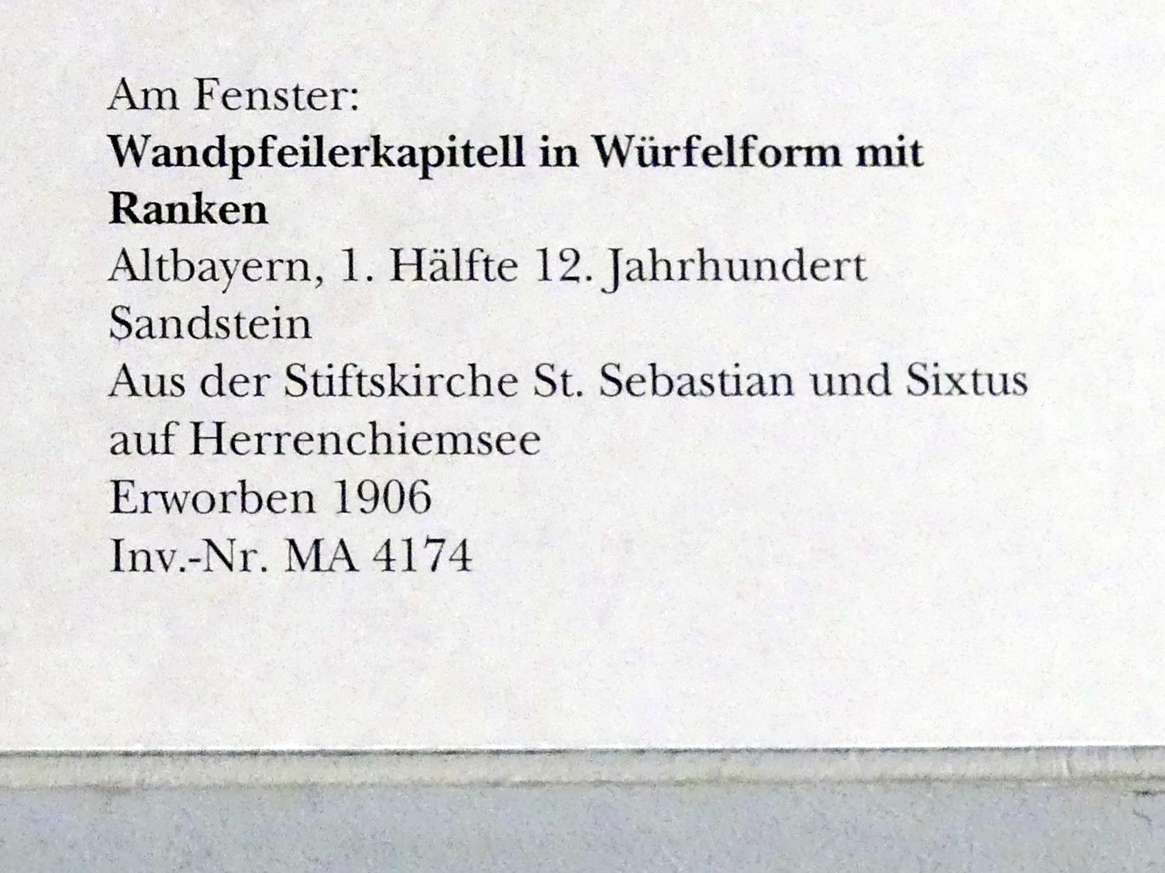 Wandpfeilerkapitell in Würfelform in Ranken, 1. Hälfte 12. Jhd.