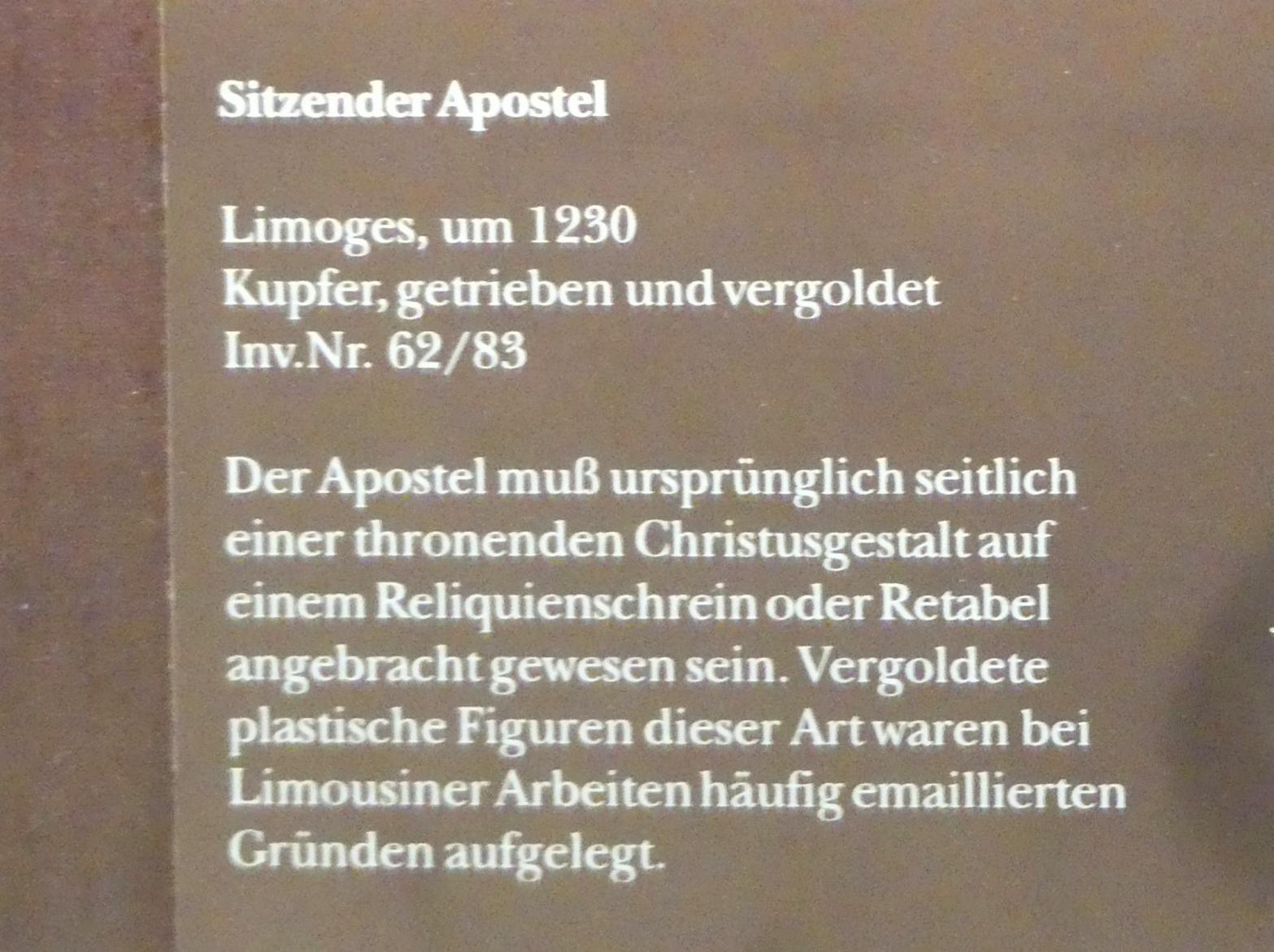 Sitzender Apostel, Um 1230