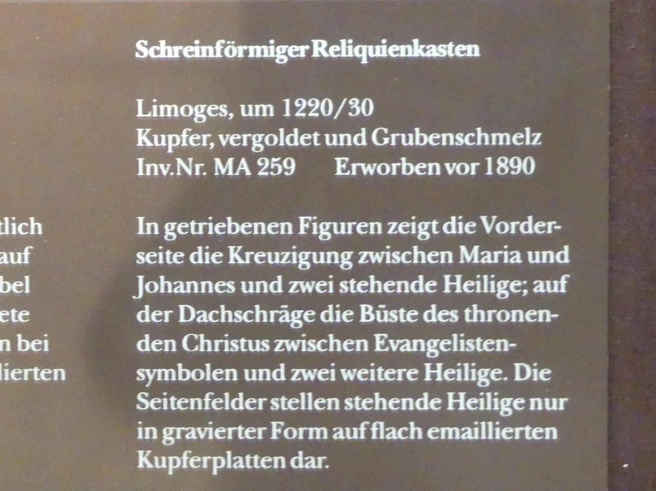 Schreinförmiger Reliquienkasten, Um 1220 - 1230