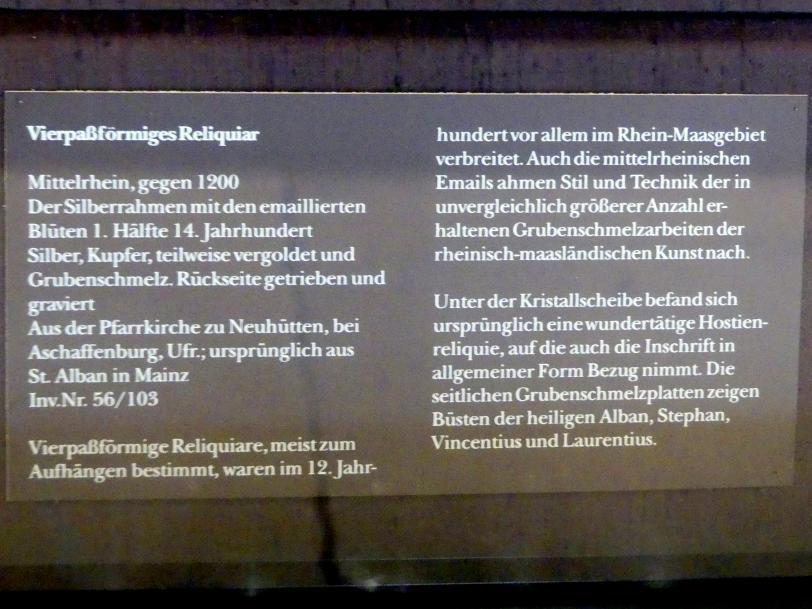 Vierpaßförmiges Reliquiar, um 1200, Bild 2/2