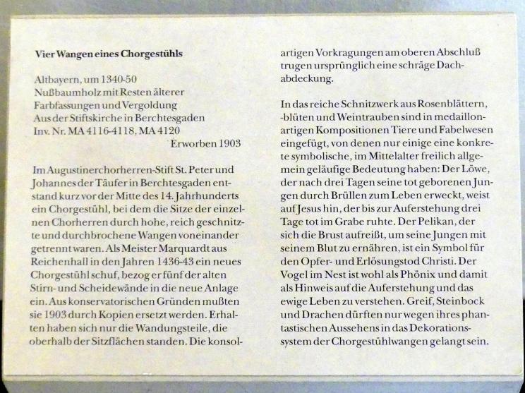 Vier Wangen eines Chorgestühls, Um 1340 - 1350