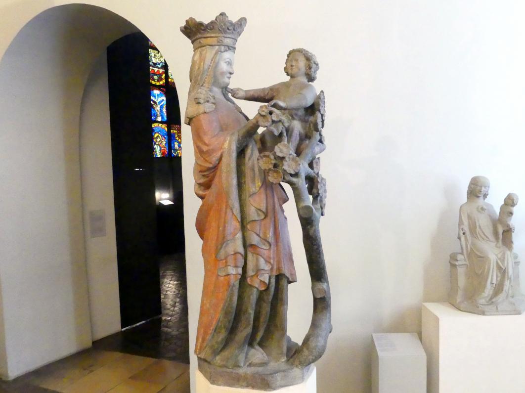 Muttergottes mit Jesuskind und Rosenstrauch, Um 1300