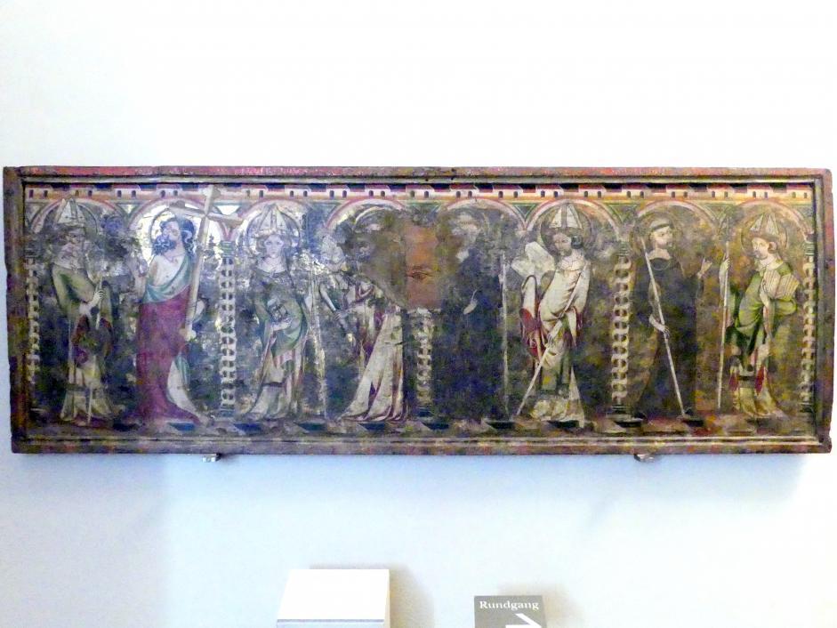 Antependium mit acht Heiligen: Otto, Andreas, Willibald, Bartholomäus, hl. Abt, hl. Bischof, Benedikt, hl. Bischof, um 1330