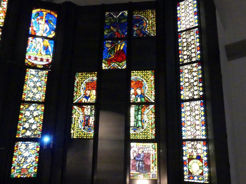 Heinrich Menger: Sieben Scheiben mit Szenen aus dem Leben des hl. Franziskus und Stifterscheibe aus dem südlichen Chorfenster der Minoritenkirche in Regensburg, Vor 1371