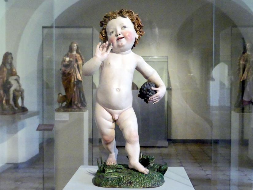 Nicolaus Gerhaert van Leyden (Umkreis): Jesuskind mit Weintraube, um 1465 - 1470