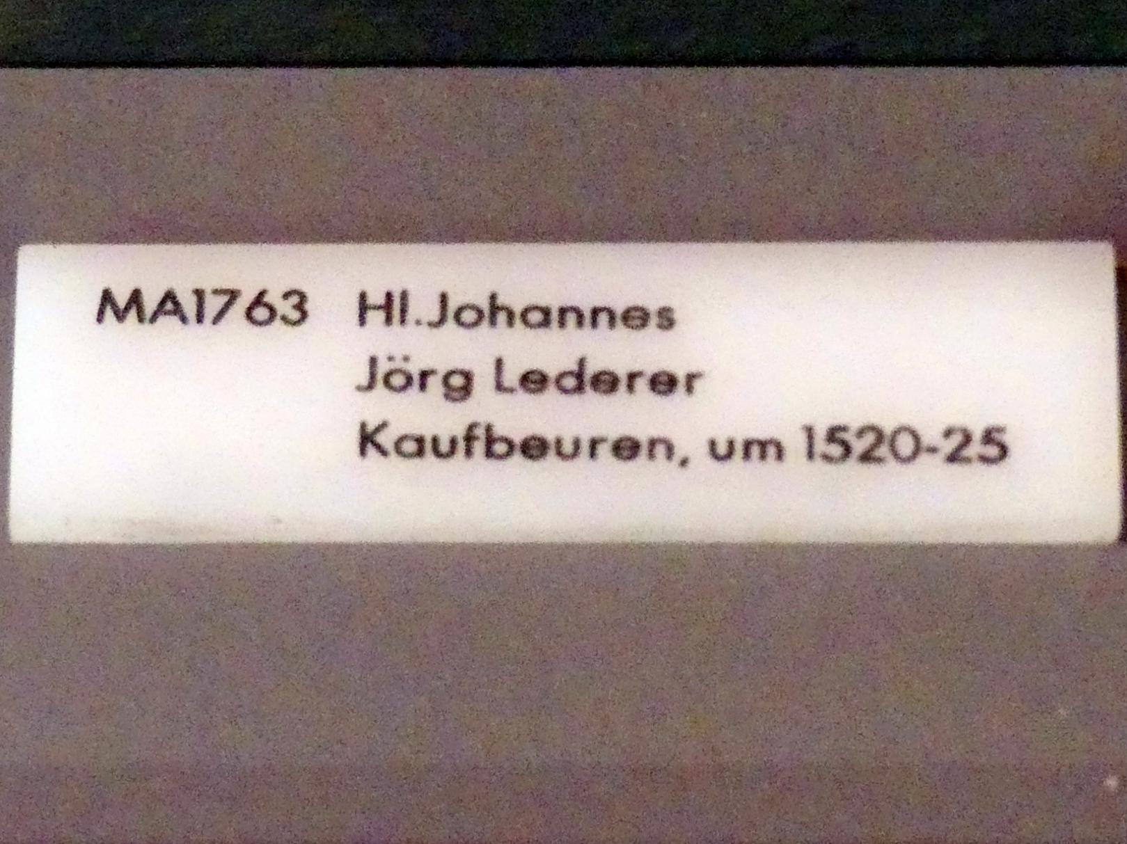 Jörg Lederer: Hl. Johannes, um 1520 - 1525, Bild 3/3