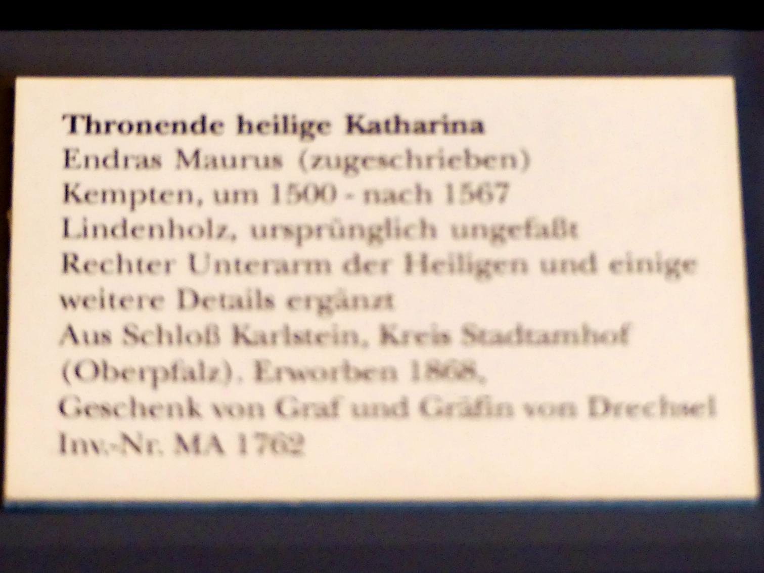 Endras Maurus: Thronende heilige Katharina, Undatiert