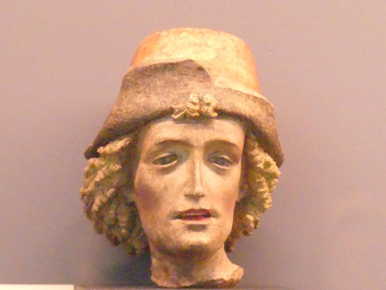 Kopffragment eines hl. Sebastian ?, Um 1400 - 1410