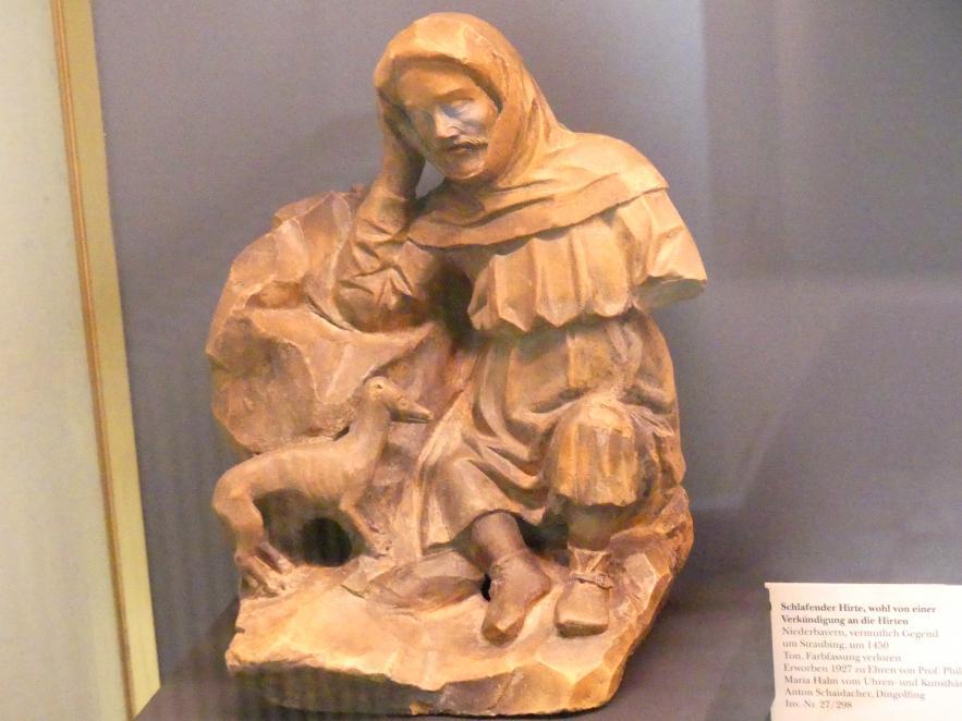 Schlafender Hirte, wohl von einer Verkündigung an die Hirten, Um 1450