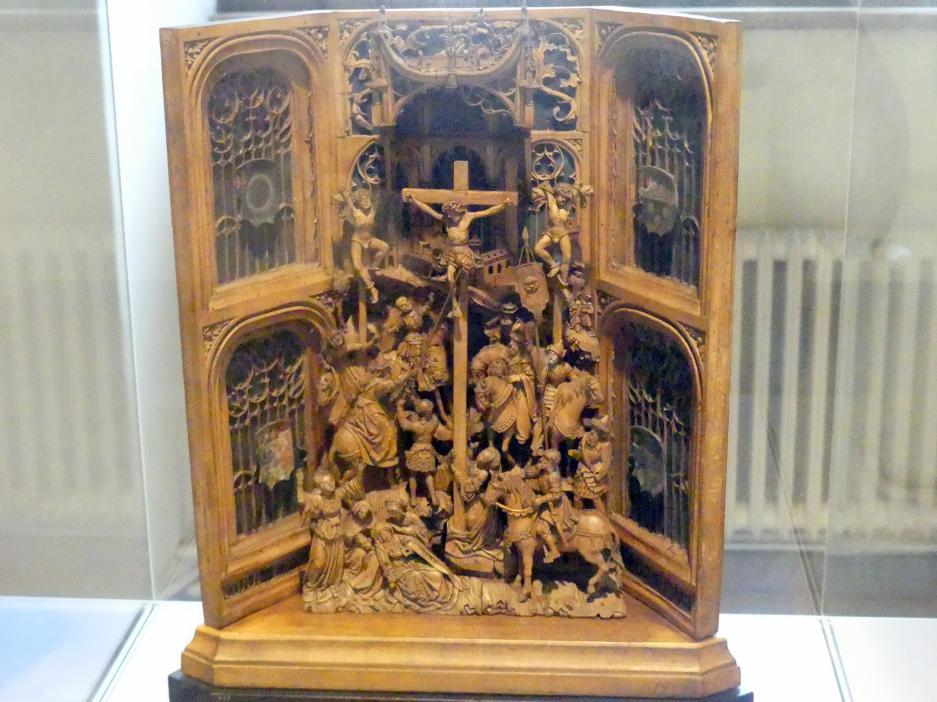 Hausaltärchen: Kreuzigung Christi vor Blendarchitektur mit Ulmer Wappen, Um 1520 - 1530