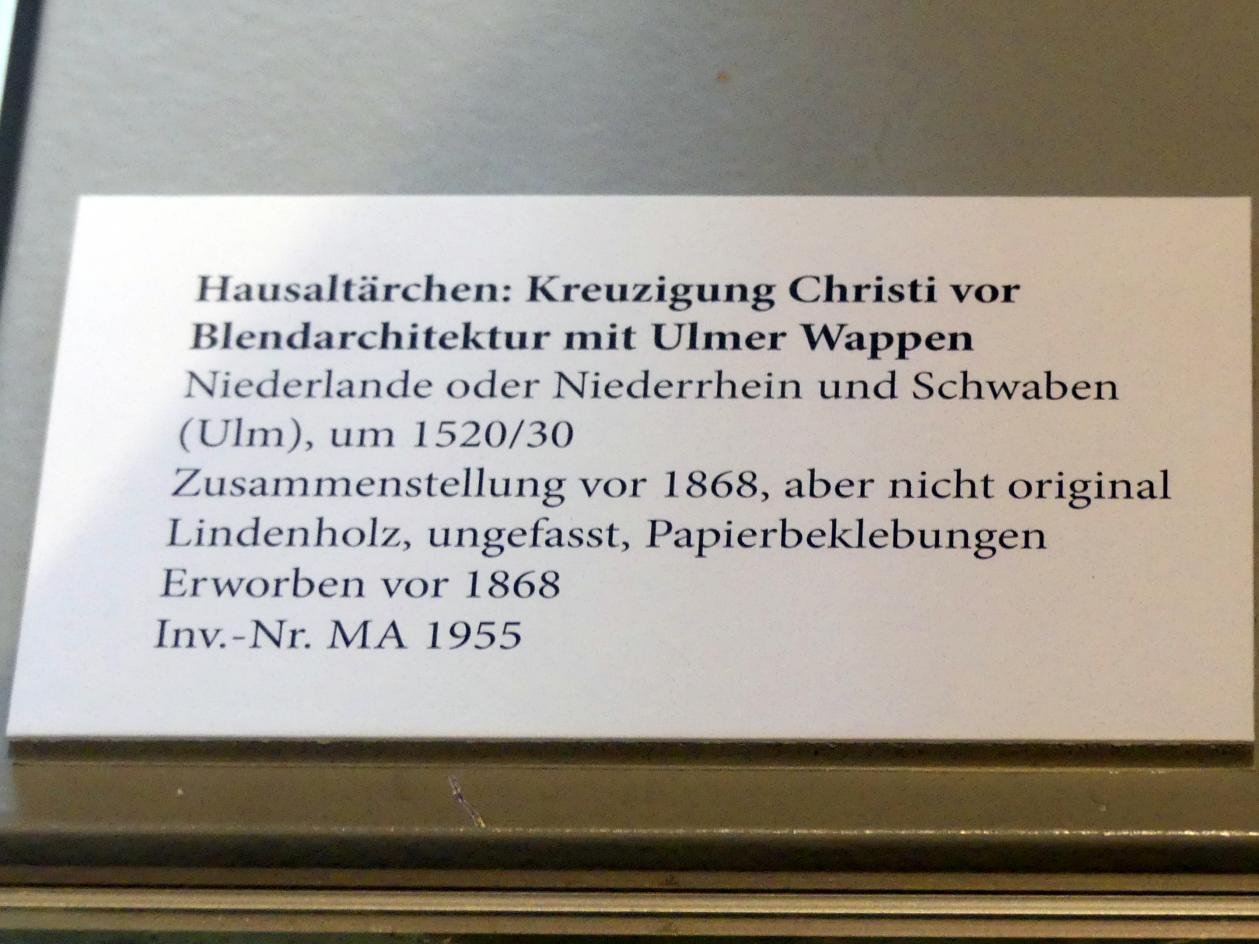 Hausaltärchen: Kreuzigung Christi vor Blendarchitektur mit Ulmer Wappen, um 1520 - 1530, Bild 3/3