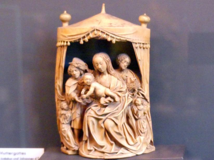 Muttergottes zwischen Jodokus und Johannes der Täufer, Um 1490