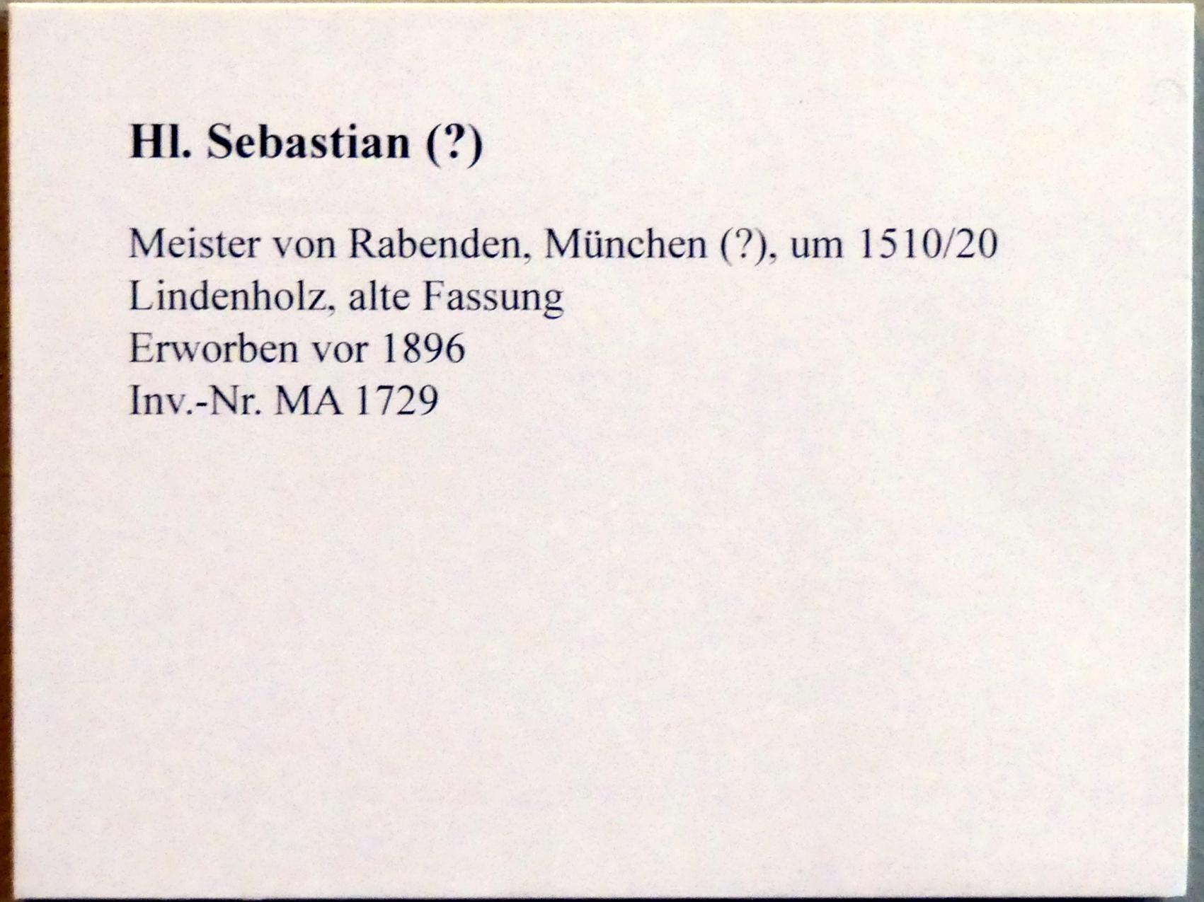 Meister von Rabenden: Hl. Sebastian (?), um 1510 - 1520, Bild 5/5