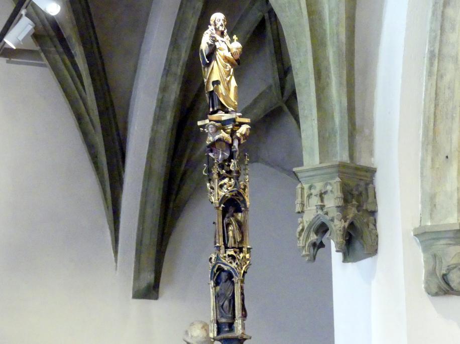 Tragestange der Ingolstädter Fischer- und Schifferzunft mit bekrönender Marienfigur und Aposteln, 1509