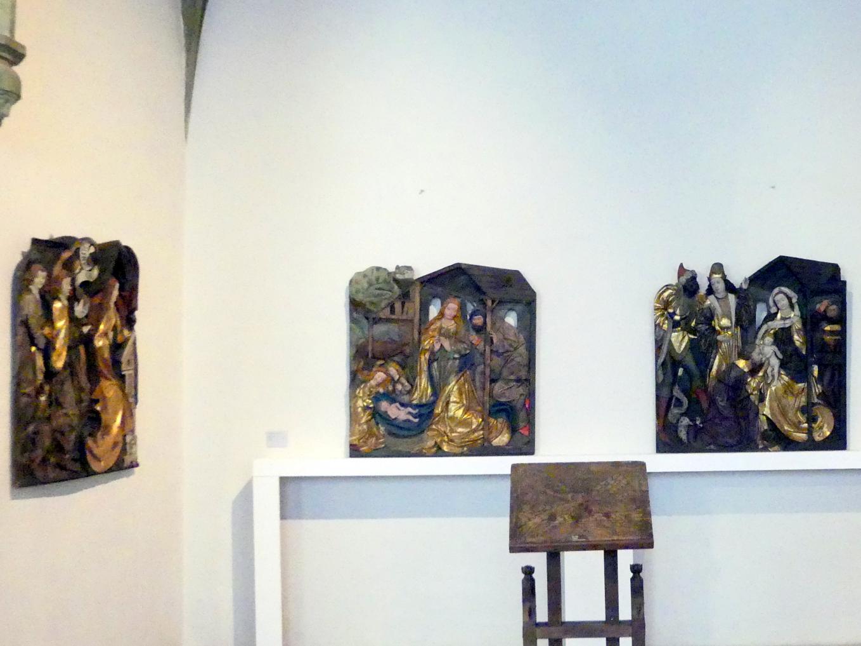 Meister der Blutenburger Apostel (Umkreis): Drei Reliefs eines Marienretabels, um 1500