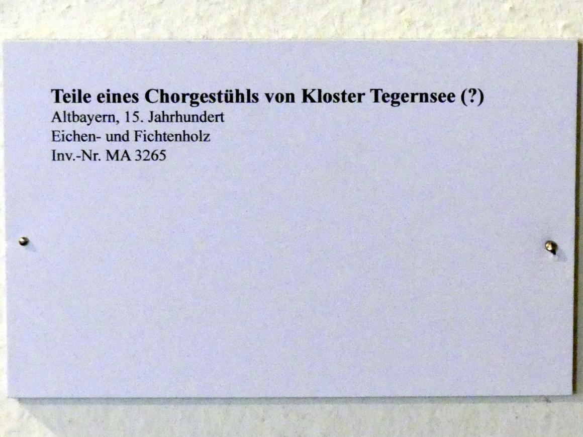 Teile eines Chorgestühls von Kloster Tegernsee (?), 15. Jhd.