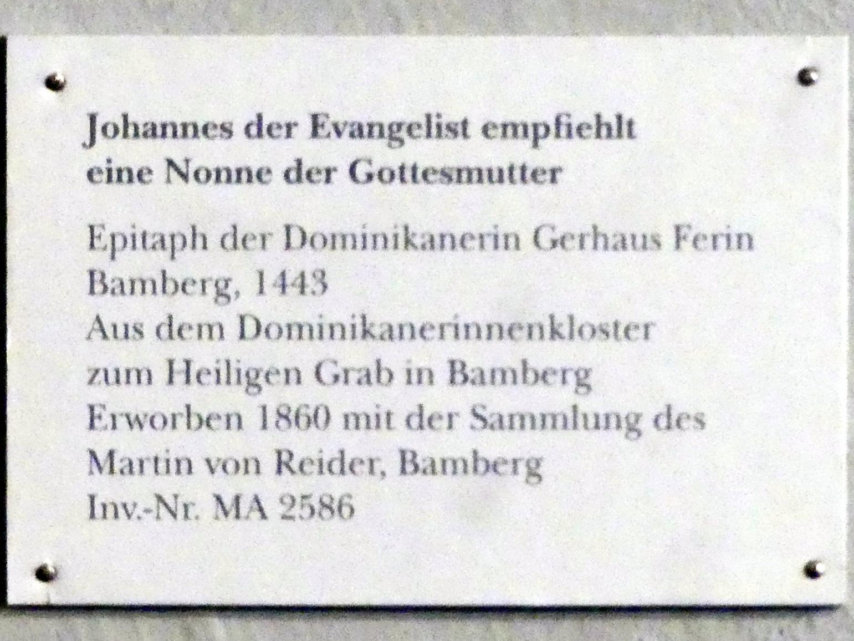 Johannes der Evangelist empfiehlt eine Nonne der Gottesmutter, 1443, Bild 2/2